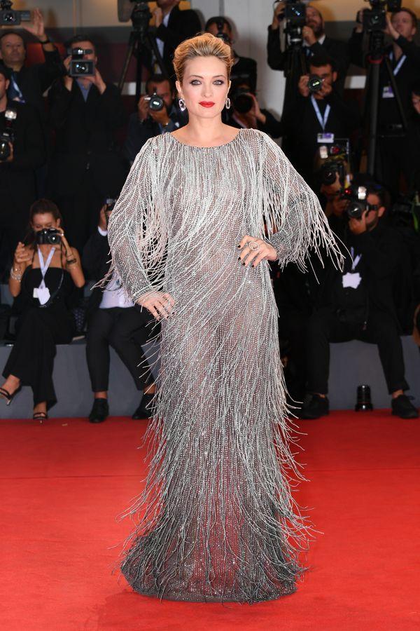 Crescentini wears a dress by Alberta Ferretti at the