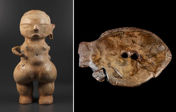 Some of the cultural art housed at the museum included this feminized statue (left) and this Amazonian fish-shaped sculpture