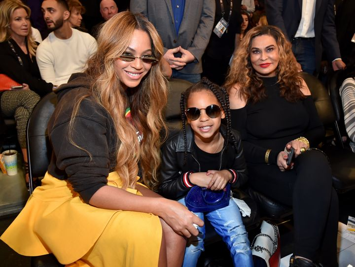 Beyoncé, Blue Ivy Carter and Tina Knowles attend the NBA All-Star Game in February. Blue Ivy pulled quite the prank on