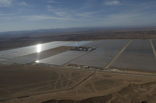 Solar panels of the Noor 1 Concentrated Solar Power plant in Rabat, Morocco, one of the largest solar...