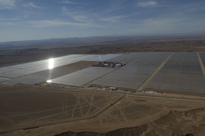 Solar panels of the Noor 1 Concentrated Solar Power plant in Rabat, Morocco, one of the largest solar plants in the world.