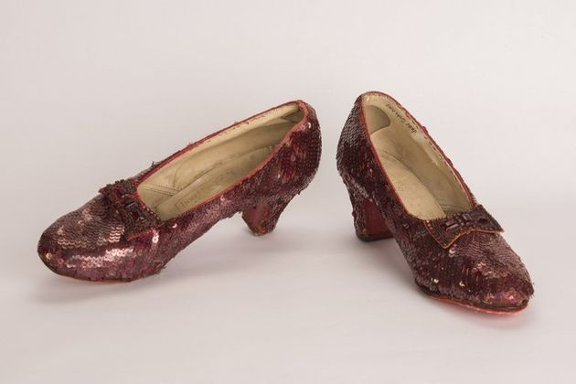 A pair of ruby red slippers worn by Judy Garland in