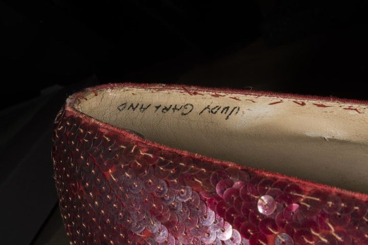 Judy Garland's name can be seen written inside of the recovered pair.