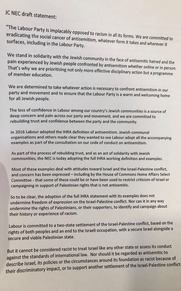 Labour's NEC Approves Full International Anti-Semitism Definition As Corbyn Avoids Defeat On Anti-Israel