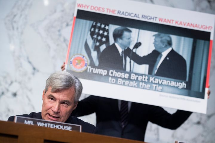 Sen. Sheldon Whitehouse (D-R.I.) said Supreme Court nominee Brett Kavanaugh was selected by a network of activist groups to a
