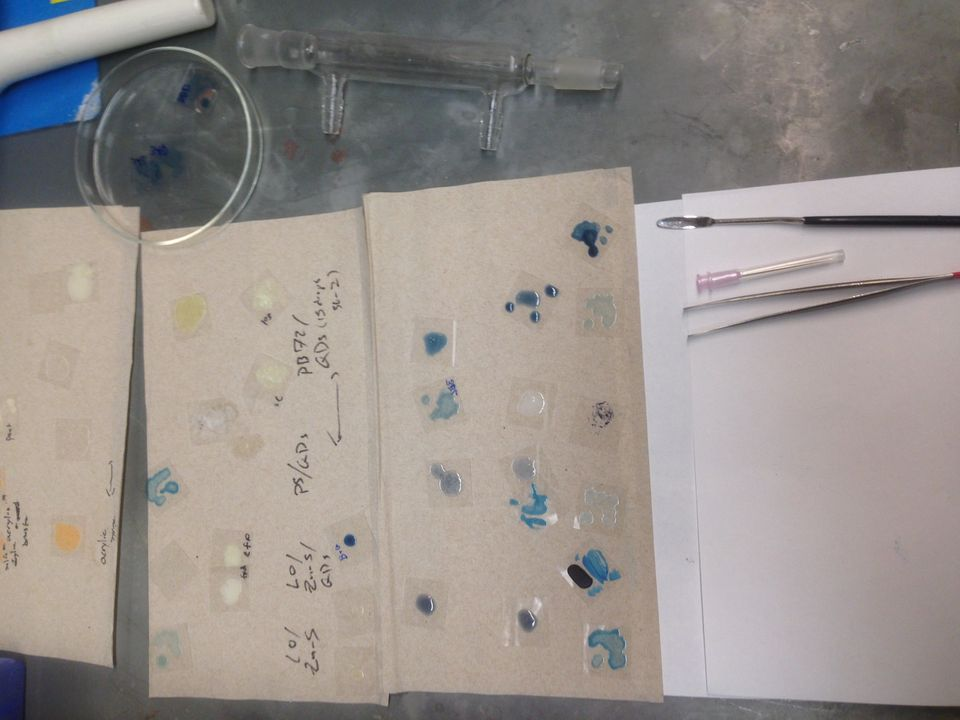 A sample of in-progress pigments being examined in the laboratory. A small sample of Quantum