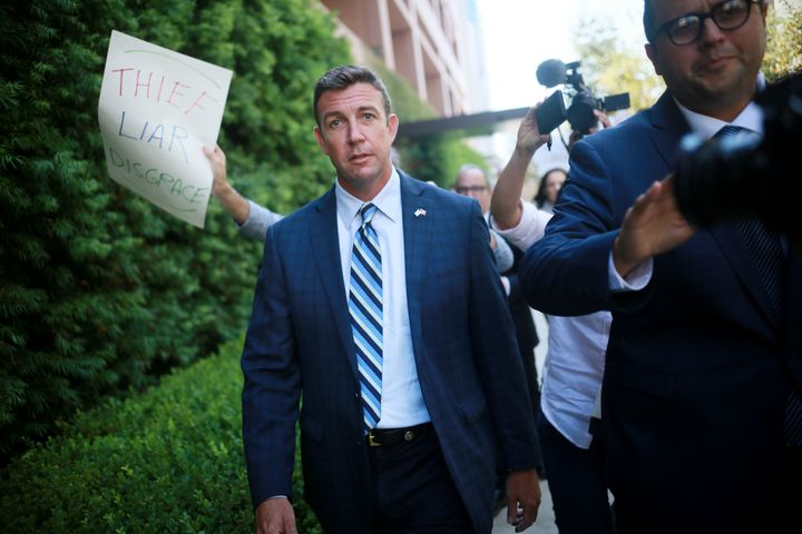 Rep. Duncan Hunter (R-Calif.) walks out of the San Diego Federal Courthouse on Aug. 23 after an arraignment hearing.