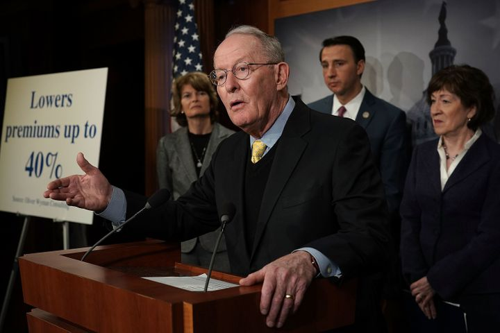 Sen. Lamar Alexander (R-Tenn.) speaks at a March 21 news conference on Capitol Hill to discuss Republican legislative proposa