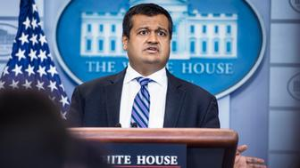 WASHINGTON, DC - MAY 14: White house Deputy Press Secretary Raj Shah speaks during a briefing the White House on Monday, May 14, 2018 in Washington, DC. (Photo by Jabin Botsford/The Washington Post via Getty Images)