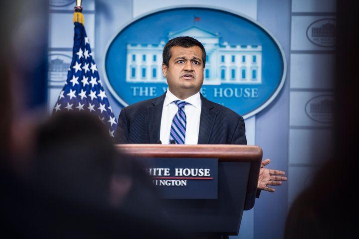 President Donald Trump told reporter Bob Woodward that he doesn't speak to his own deputy press secretary, Raj Shah (above).