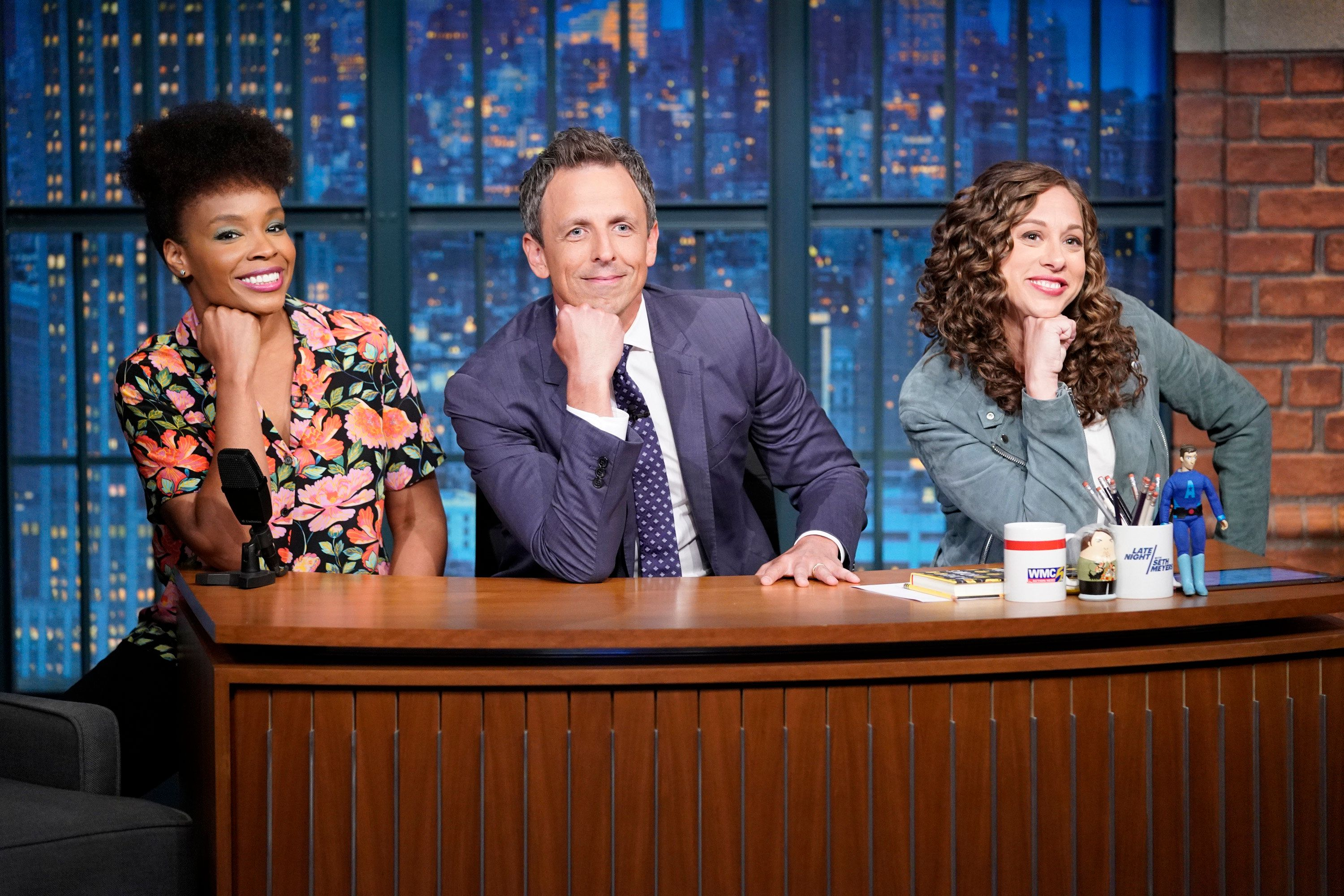 LATE NIGHT WITH SETH MEYERS -- Episode 715 -- Pictured: (l-r) Amber Ruffin, host Seth Meyers and Jenny Hagel during 'Jokes Seth Can't Tell' sketch on July 31, 2018 -- (Photo by: Lloyd Bishop/NBC/NBCU Photo Bank via Getty Images)