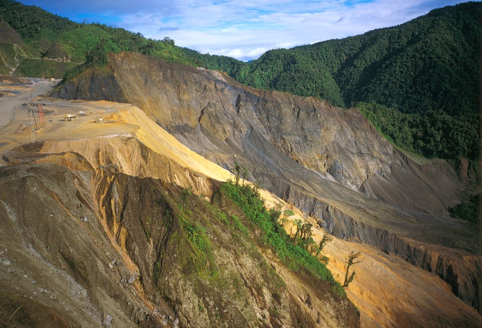 Deforestation at Ok Tedi copper and gold mine in Papua New