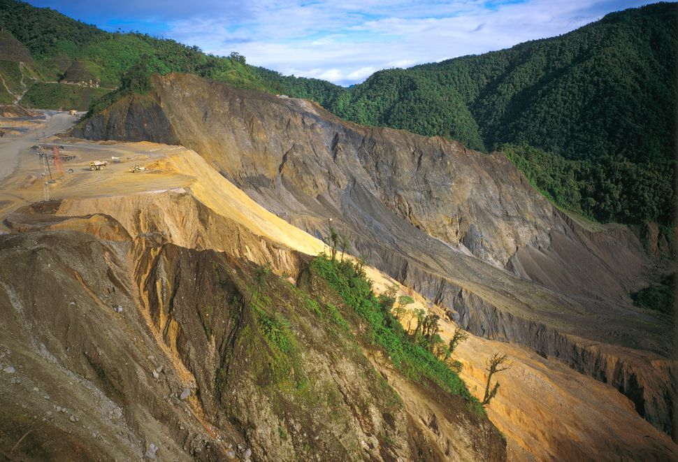 Deforestation at Ok Tedi copper and gold mine in Papua New Guinea.