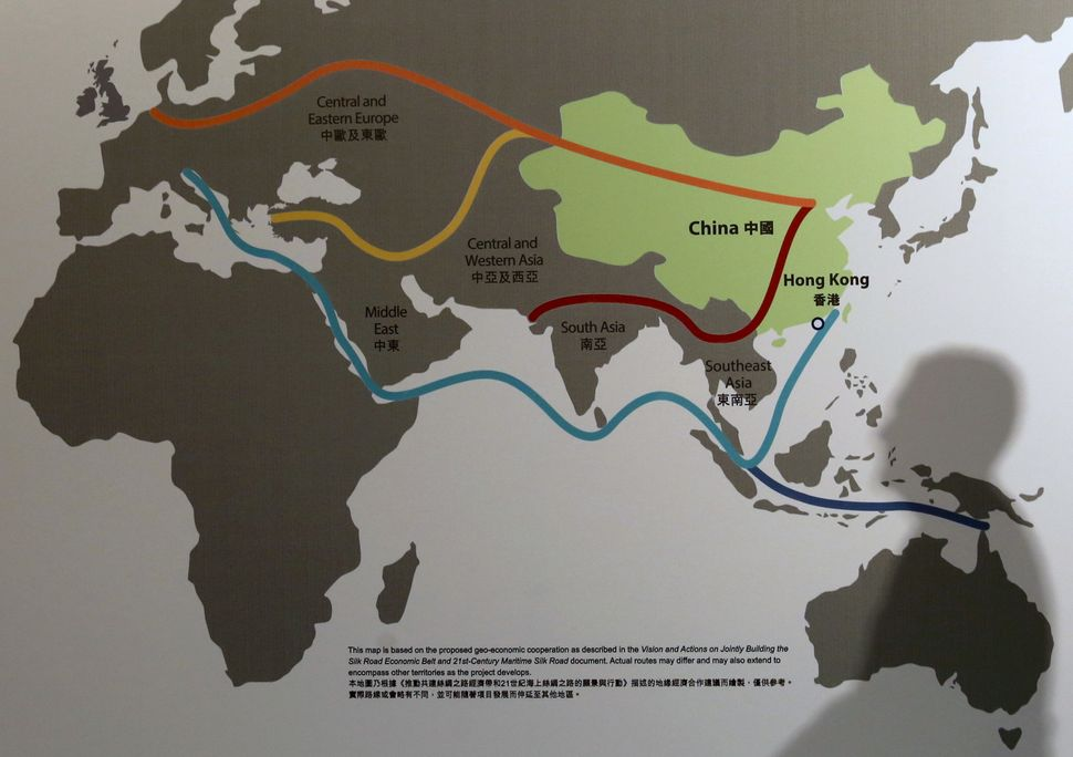 "A map illustrating China's ""One Belt, One Road"" megaproject at the Asian Financial Forum in Hong Kong, China January 18, 2016"