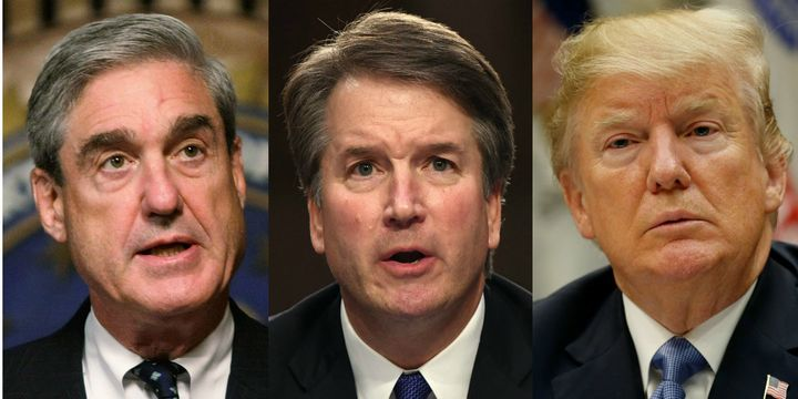 If Brett Kavanaugh (center) is confirmed to the Supreme Court and if President Donald Trump (right) responds to a potential b