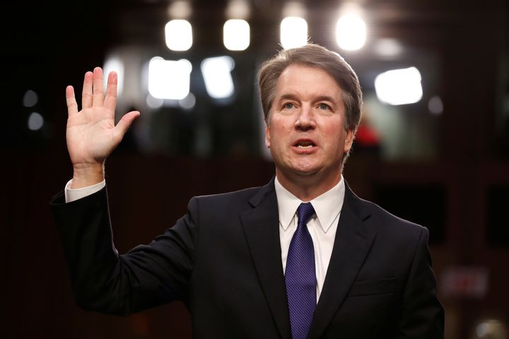 Kavanaugh is sworn in during his Senate Judiciary Committee confirmation hearing for the Supreme Court on Tuesday.