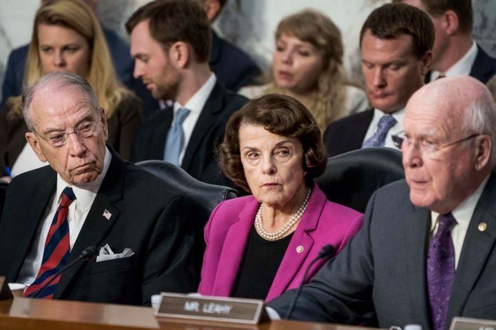 From left: Senate Judiciary Committee Chairman Chuck Grassley (R-Iowa), Sen. Dianne Feinstein (D-Calif.) and Sen. Patrick Lea