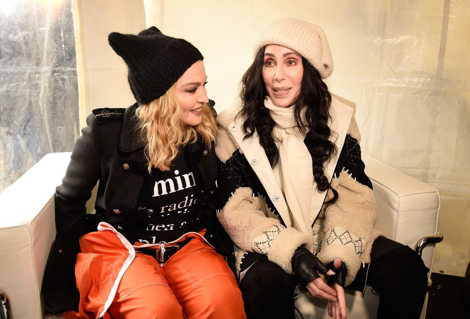 Madonna and Cher at the Women's March on Washington in January 2017.
