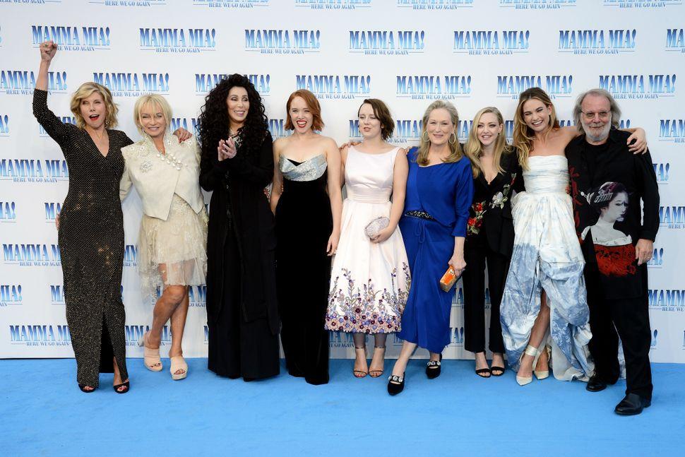 Christine Baranski, producer Judy Craymer, Cher, Jessica Keenan Wynn, Alexa Davies, Meryl Streep, Amanda Seyfried, Lily James