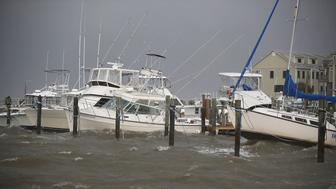 DAUPHIN ISLAND, AL - SEPTEMBER 04:  Boats ride out the incoming waves and rain from Tropical Storm Gordon on September 4, 2018 in Dauphin Island, Alabama.  Gordon heads for the northern Gulf Coast area as a strong tropical storm and could possibly strengthen into a Category 1 hurricane.  (Photo by Joe Raedle/Getty Images)