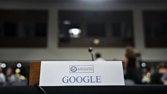 A Google placard sits on the witness table before a Senate Intelligence Committee hearing in Washington, D.C., U.S., on Wednesday, Sept. 5, 2018. Lawmakers from both sides of the aisle have increased pressure on technology companies on Russian interference in the 2016 presidential campaign and other election meddling as well as issues including alleged anti-conservative bias and antitrust questions. Photographer: Andrew Harrer/Bloomberg via Getty Images