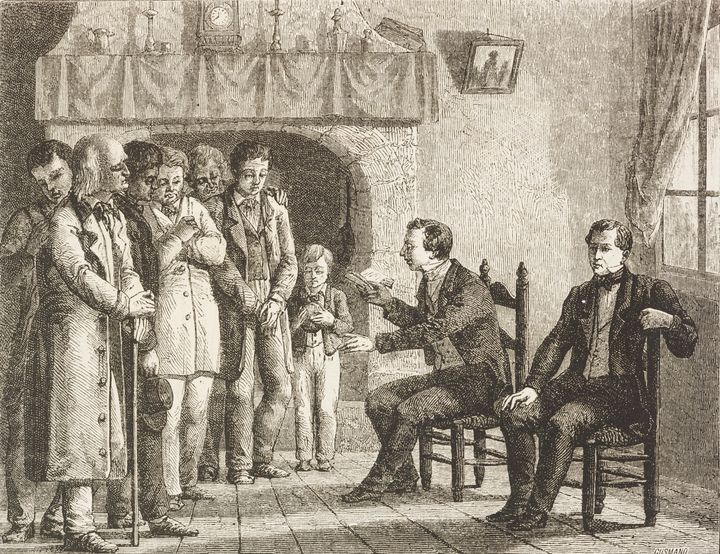 Joseph Smith reads the Book of Mormon to his followers in this 1869 sketch.