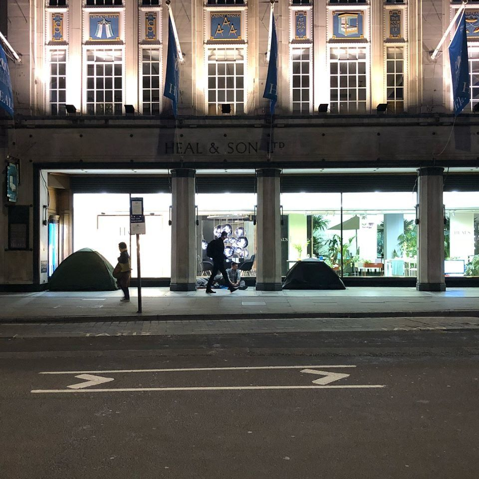 Tents outside the Heals store in Tottenham Court Road in May this
