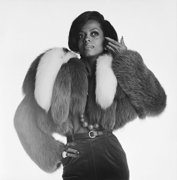 The American soul singer poses in a furry jacket in London, 1972.