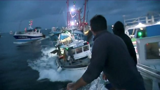 French and British fishing boats collide during in the English