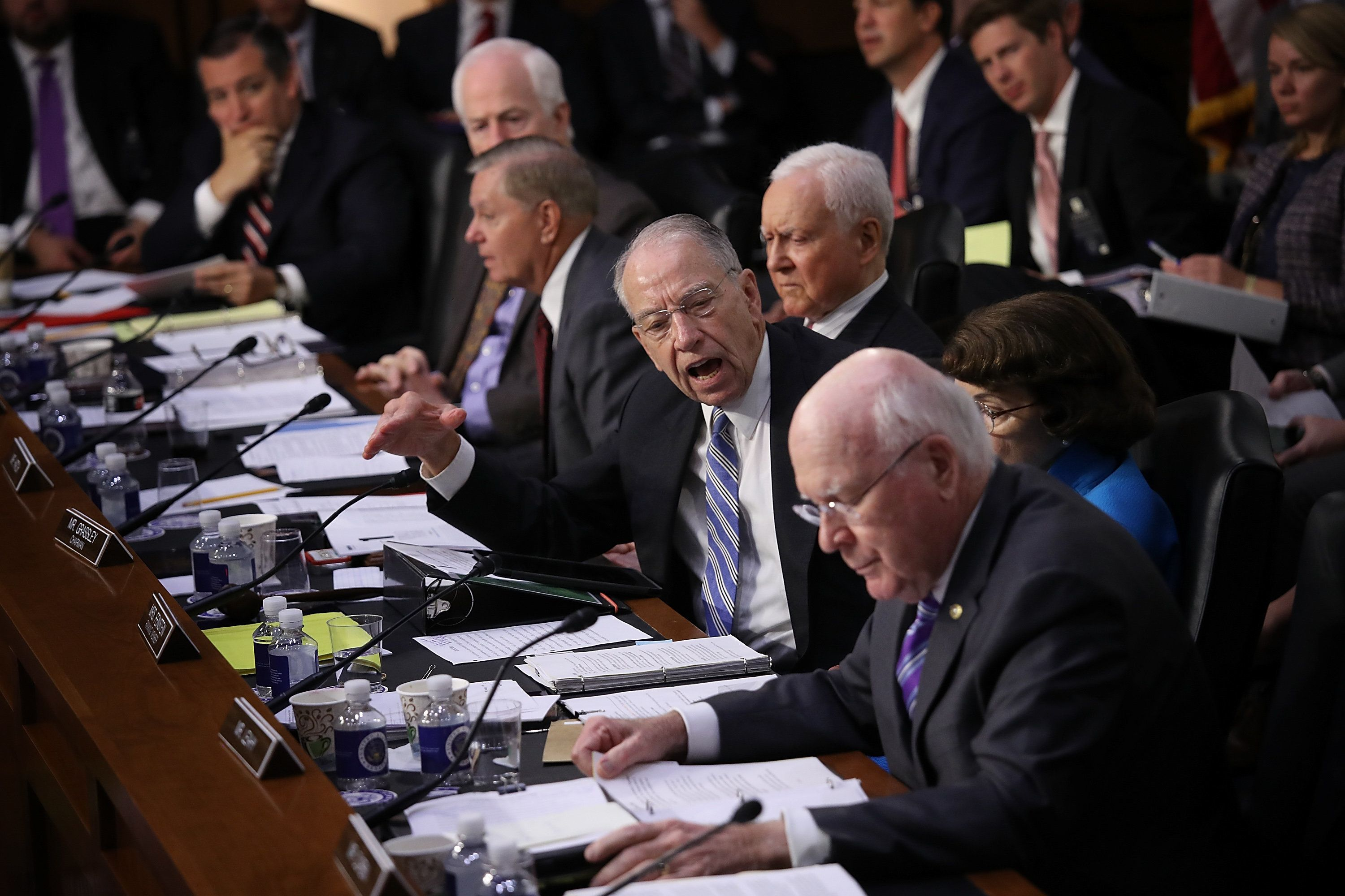 Senate Judiciary Committee Chairman Chuck Grassley (R-Iowa) shouts at Leahy as he questioned the lack of disclosure of Kavanaugh's documents.