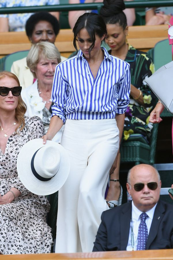 The duchess wore this look when she attended Wimbledon in July. The whole ensemble, complete with white sun hat, looks relaxe