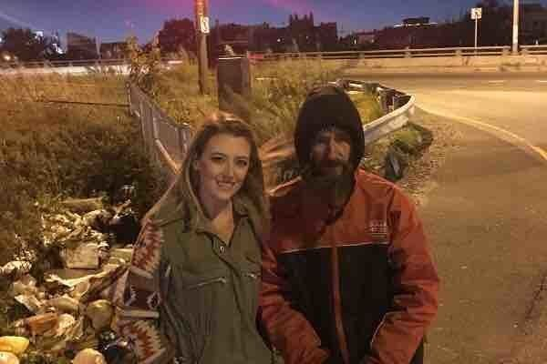 Kate McClure left and Johnny Bobbitt Jr posing for a photo that appeared on the GoFundMe website