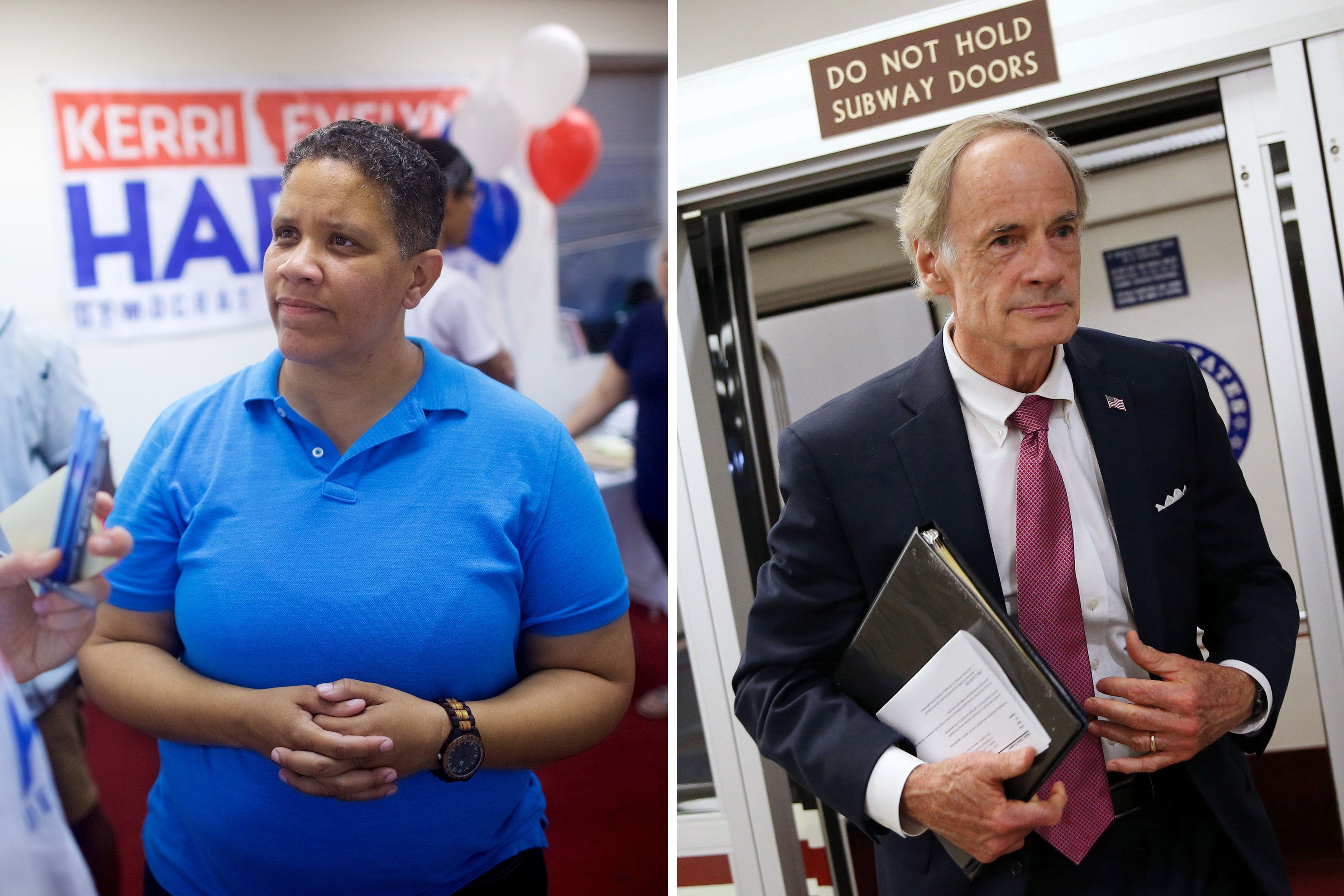 LEFT: Kerri Harris, a veteran and community activist, who is challenging Senator Carper for the Democratic nomination, speaks with a supporter inside her just open campaign headquarters in Wilmington, DE July 20, 2018. RIGHT:' Sen. Tom Carper (D-DE) speaks to reporters as he arrives for the weekly Senate Democrat's policy luncheon, on Capitol Hill, on July 24, 2018 in Washington, DC.  (Photo by Mark Makela for The Washington Post via Getty Images; Al Drago/Getty Images)