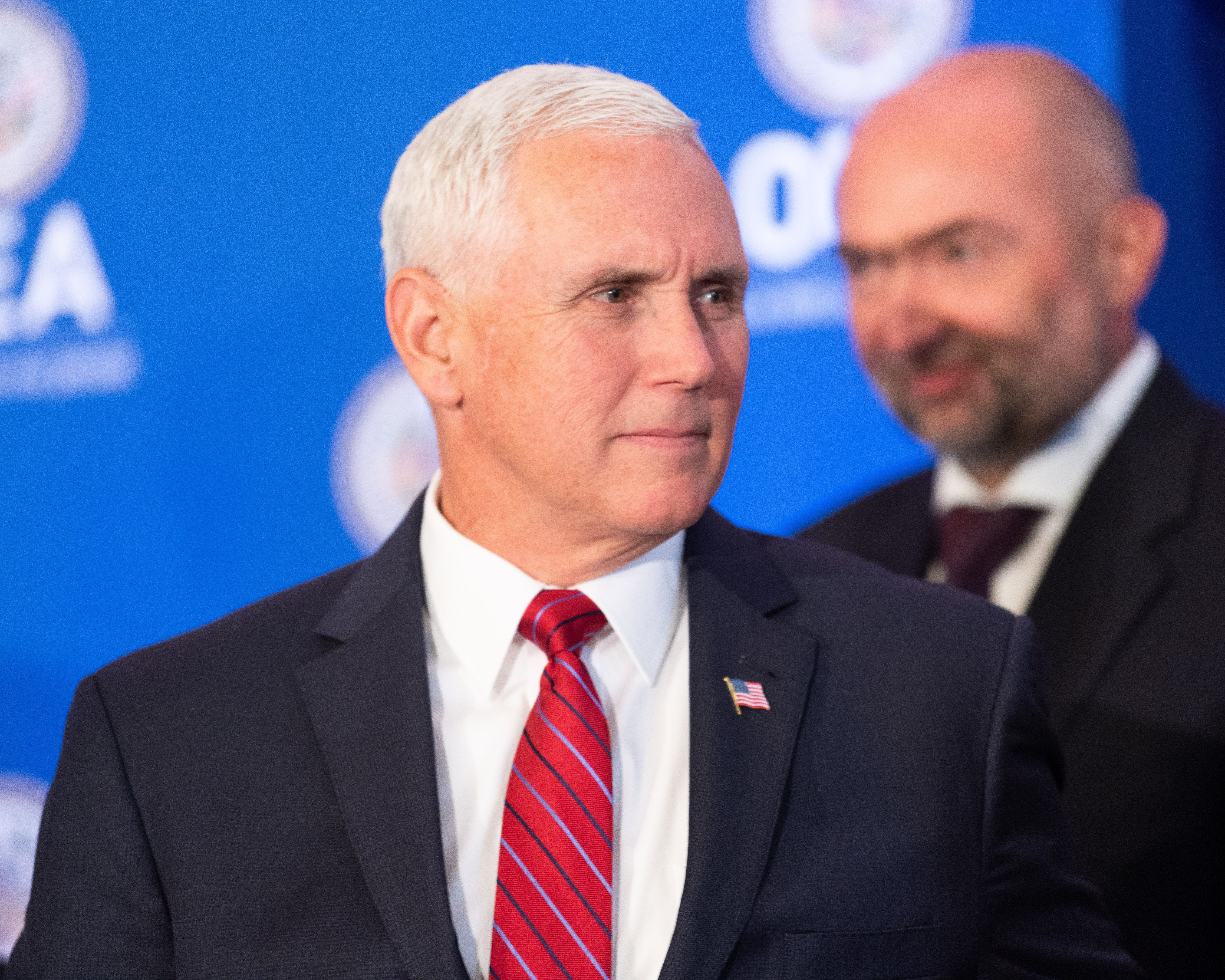 U.S. Vice President Mike Pence at the Organization of American States in Washington, DC on May 7, 2018 (Photo by Michael Brochstein/Sipa USA)