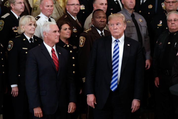 President Donald Trump and Vice President Mike Pence meet with sheriffs from across the country at the White House on Wednesd