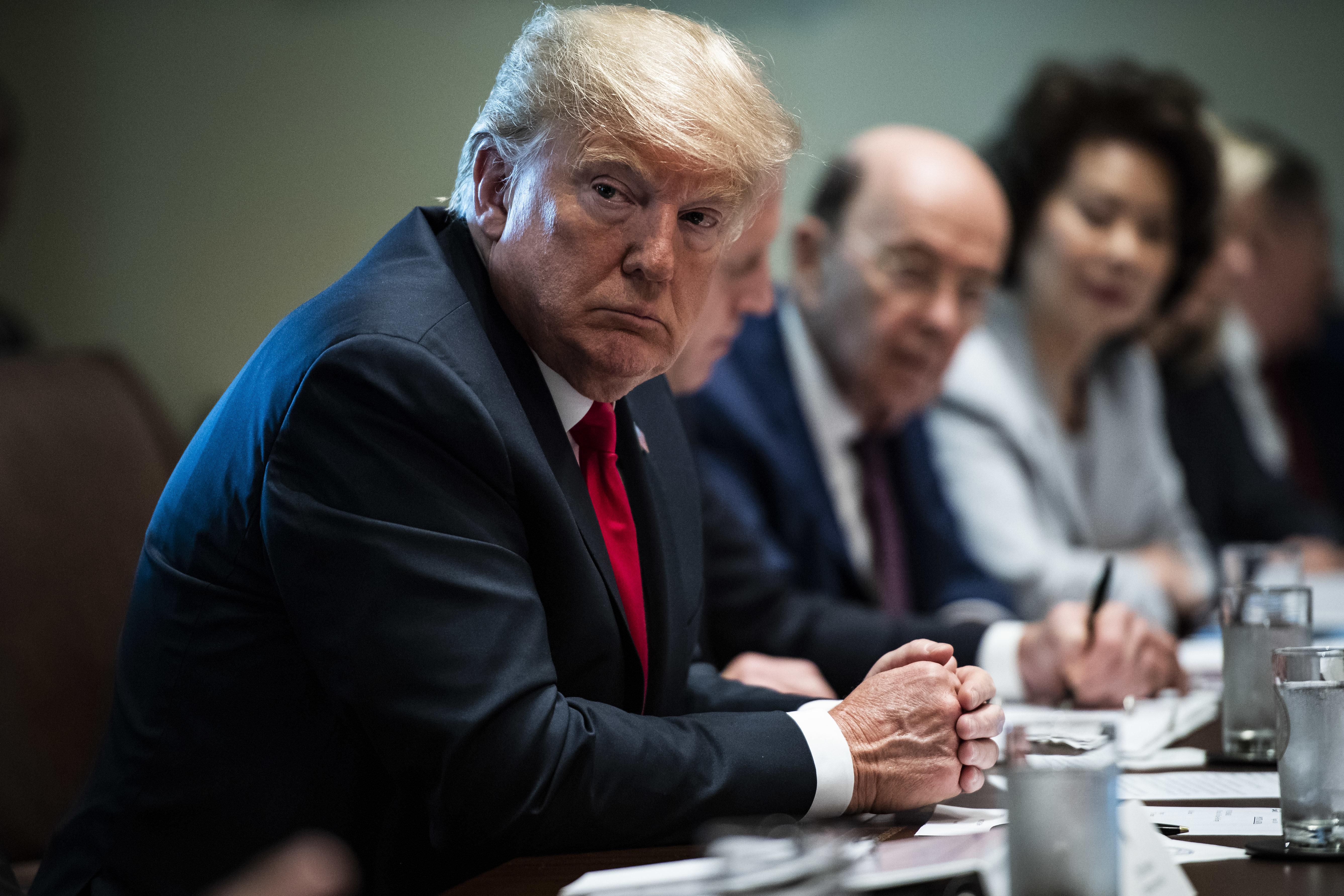 El presidente Donald Trump durante una reunión de gabinete el 16 de agosto de