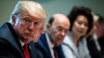 WASHINGTON, DC - AUGUST 16 : President Donald J. Trump listens during a Cabinet meeting in the Cabinet Room of the White House on Thursday, Aug 16, 2018 in Washington, DC. (Photo by Jabin Botsford/The Washington Post via Getty Images)