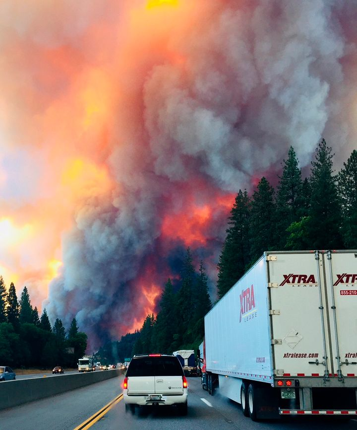 The fire shut down miles of Interstate 5 and there was no immediate word on when it would reopen.
