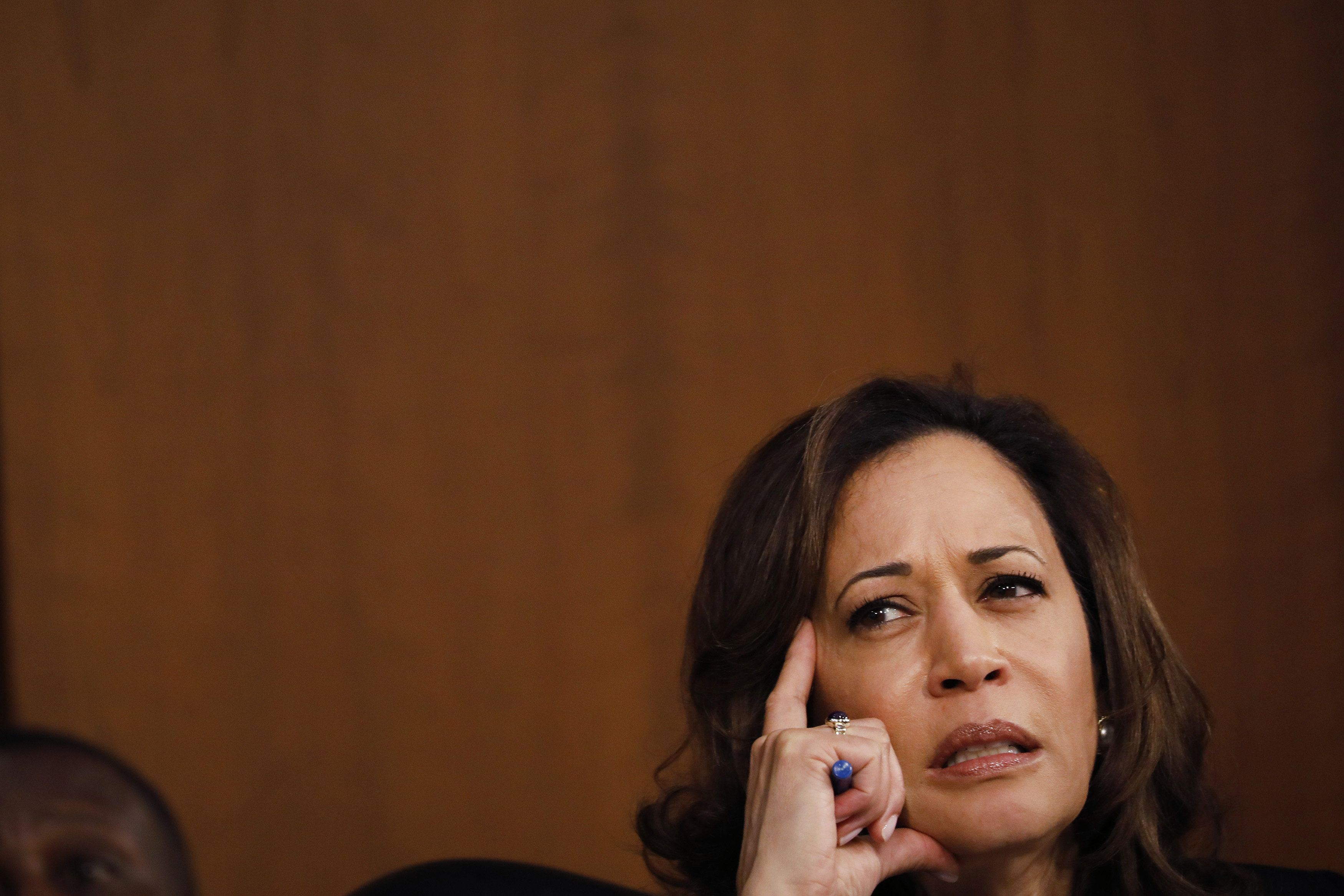Senator Kamala Harris, a Democrat from California, listens during a Senate Judiciary Committee confirmation hearing for Brett Kavanaugh, U.S. Supreme Court associate justice nominee for U.S. President Donald Trump, not pictured, in Washington, D.C., U.S., on Tuesday, Sept. 4, 2018. If confirmed, Kavanaugh would fortify the high court's conservative majority, and spotlight the rightward march of the federal judiciary under Trump and the GOP-controlled Senate. Photographer: Aaron P. Bernstein/Bloomberg via Getty Images