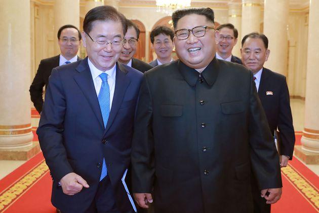 North Korean leader Kim Jong Un (R) and South Korea leaderSouth Korean President Moon Jae-in are...