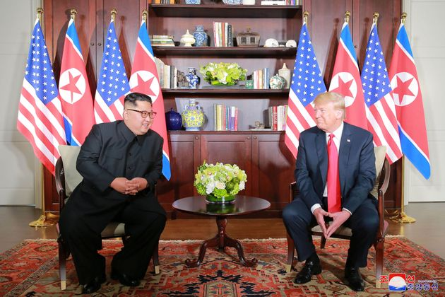 US President Donald Trump and Kim during their meeting in Singapore in