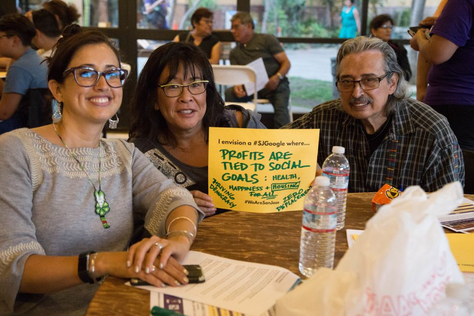 Attendees at a community town hall meeting run by Silicon Valley Rising share their vision for the Google mega-campus.