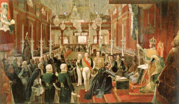 The coronation of Emperor Pedro I of Brazil in