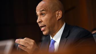 WASHINGTON, DC - SEPTEMBER 05: Senator Cory Booker (D-NJ) asks Supreme Court nominee, Brett Kavanaugh a question during a confirmation hearing at the Hart Senate Office Building on Wednesday September 05, 2018 in Washington, DC. (Photo by Matt McClain/The Washington Post via Getty Images)