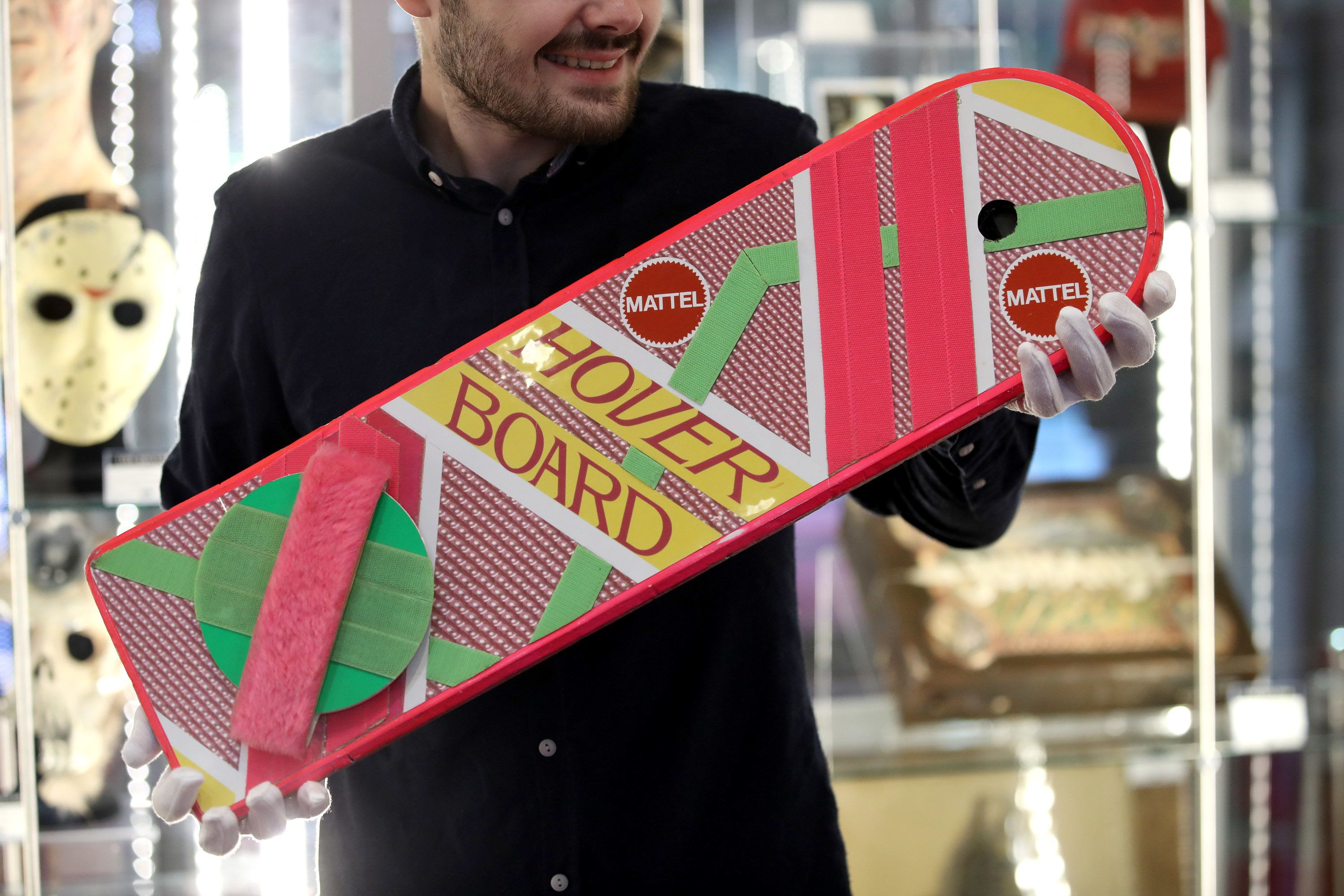 LONDON, ENGLAND - SEPTEMBER 06:  Marty McFly's  Mattel hoverboard from 'Back to the Future Part II'  seen during the TV Memorabilia Auction preview Photocall at BFI IMAX on September 6, 2018 in London, England. The exhibition features over 270 rare and iconic props and costumes from the world of film and television. All items will be sold in the upcoming Prop Store Live Auction  (Photo by Mike Marsland/Mike Marsland/WireImage)