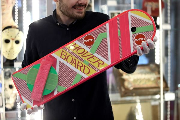"Marty McFly's Mattel hoverboard from ""Back to the Future Part II."""