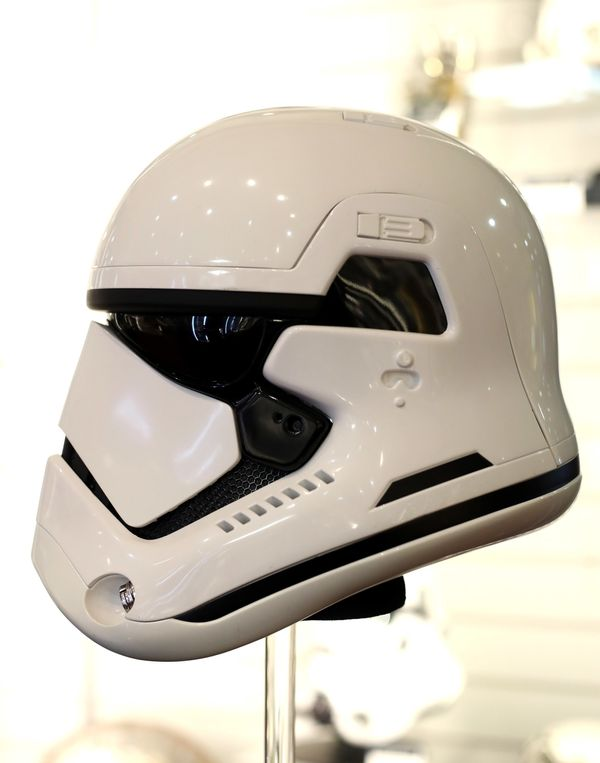 "First Order stormtrooper helmet from ""Star Wars: The Last Jedi."""