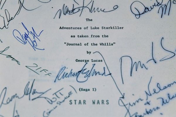 "A fourth script, signed by crew members, from the 1977 film ""Star Wars: A New Hope."""