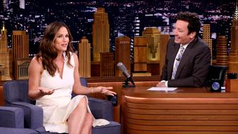 THE TONIGHT SHOW STARRING JIMMY FALLON -- Episode 0918 -- Pictured: (l-r) Actress Jennifer Garner during an interview with host Jimmy Fallon on September 5, 2018 -- (Photo by: Andrew Lipovsky/NBC/NBCU Photo Bank via Getty Images)