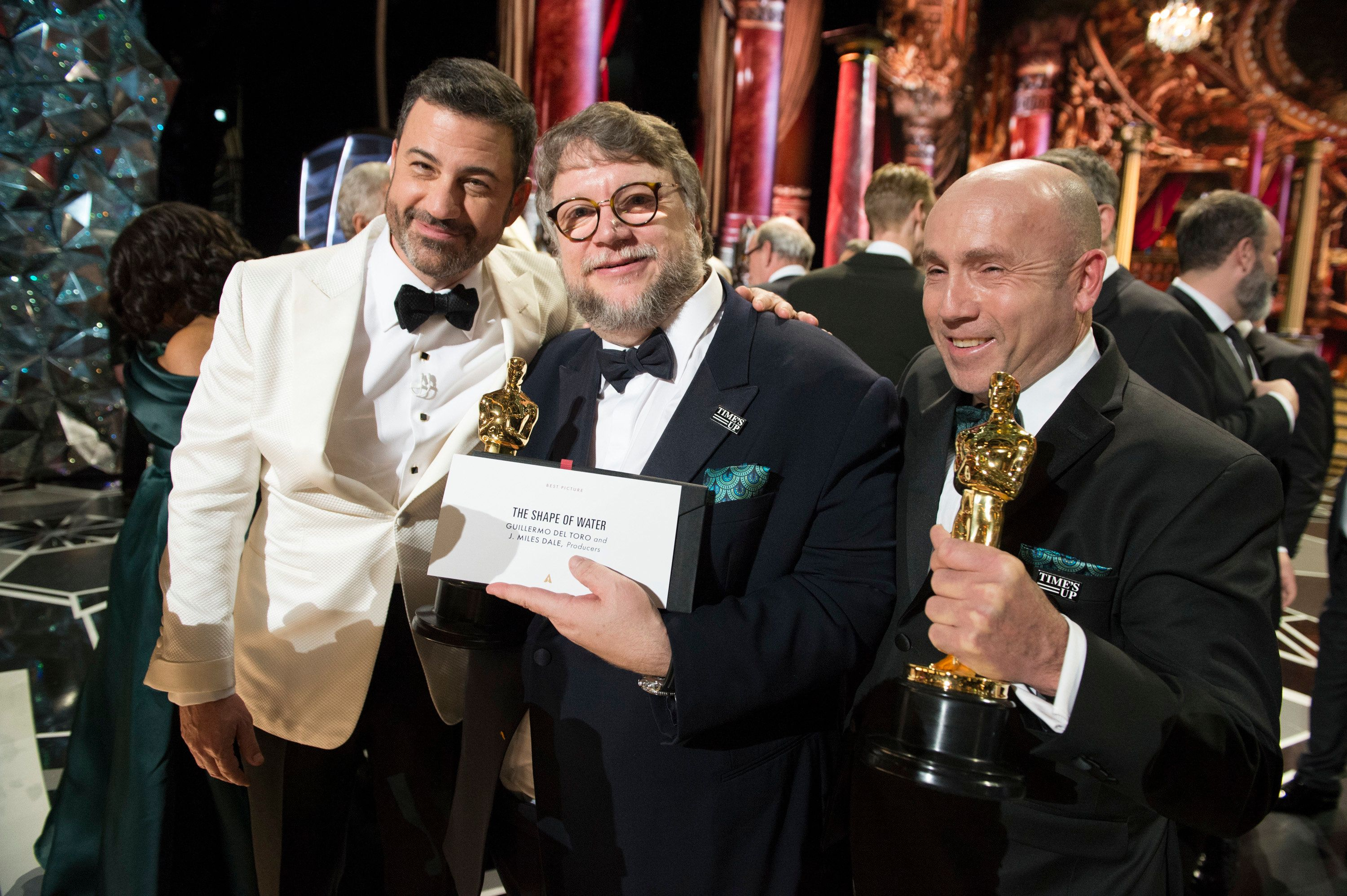 THE OSCARS(r) - The 90th Oscars(r)  broadcasts live on Oscar(r) SUNDAY, MARCH 4, 2018, at the Dolby Theatre® at Hollywood & Highland Center® in Hollywood, on the ABC Television Network. (Eric McCandless via Getty Images) JIMMY KIMMEL, GUILLERMO DEL TORO, J. MILES DALE